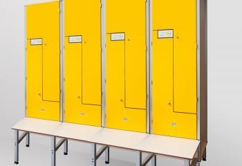 alt='Szafki basenowe HPL żółte drzwiczki' title='Szafki basenowe HPL żółte drzwiczki'